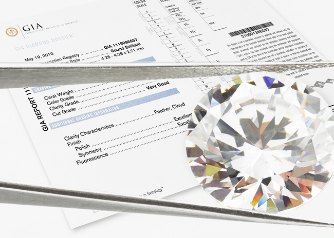 Diamond grading dossier certificate also known as a diamond grading report