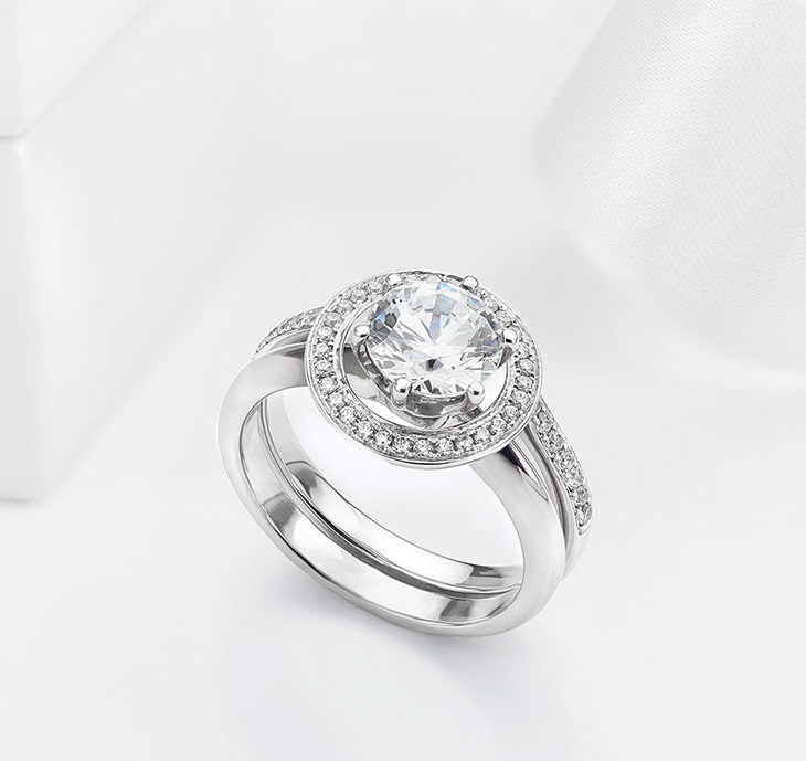adding a halo to a solitaire engagement ring enhancer wedding ring wraps - Wedding Ring Enhancers