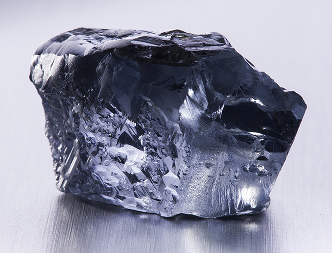 Another view of the 29.6 carat blue rough diamond. Courtesy of Petra Diamonds.