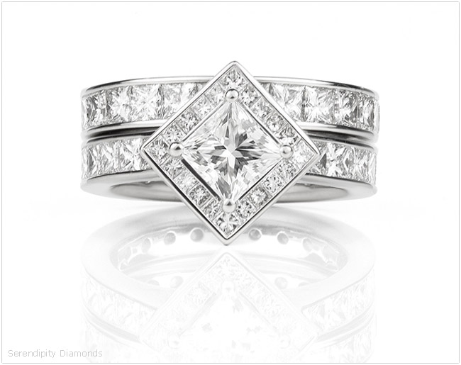 Showing a re-modelled engagement ring with a halo added to the design