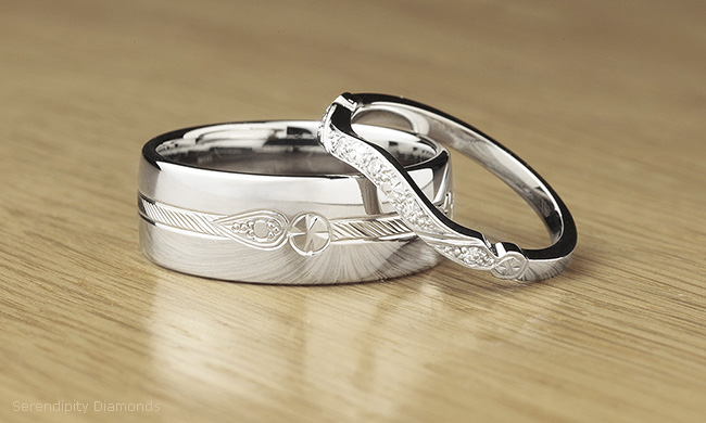 hand engraved vs machined patterned wedding rings
