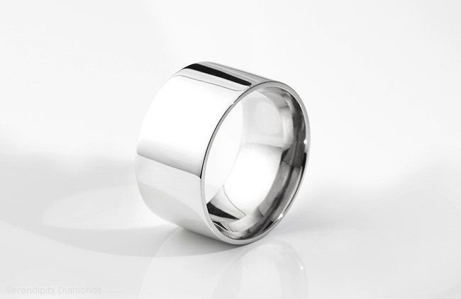 Extra wide men's wedding ring. Showing a flat court 13mm wedding ring created in 950 Palladium.