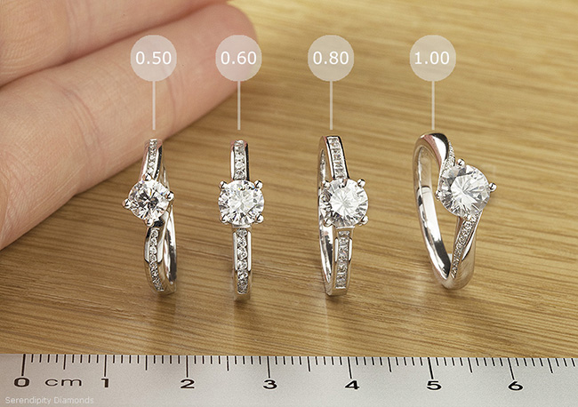 A selection of diamond sizes, showing comparisons from 0.50 carats upto 1 carat in weight.
