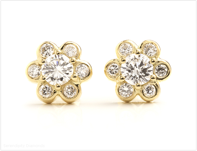 Bespoke diamond daisy earrings. Re-created in 18ct Yellow Gold.