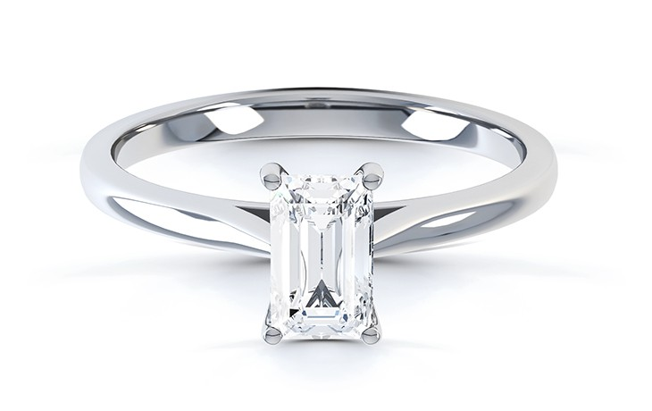 Emerald cut diamond engagement ring with skinny band