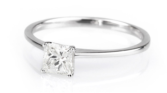 Princess cut engagement ring with slim shoulders