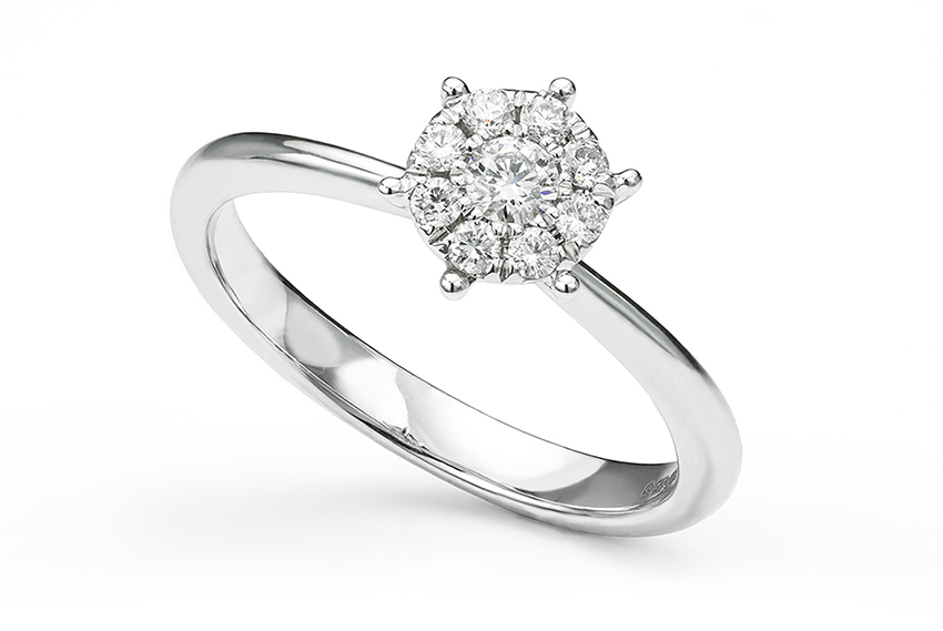 Diamond cluster engagement ring with a skinny band