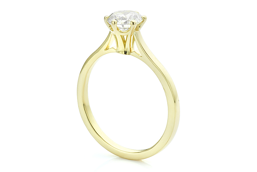 Flute, slim engagement ring with a tall setting