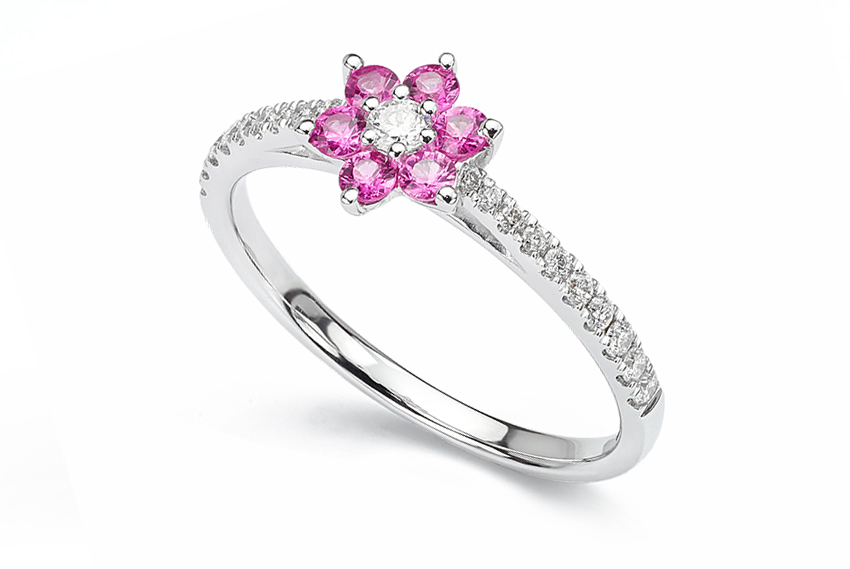 Petite pink sapphire cluster ring with skinny diamond set shoulders