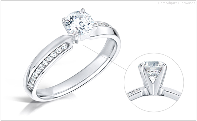 Alternating diamond shoulder engagement rings