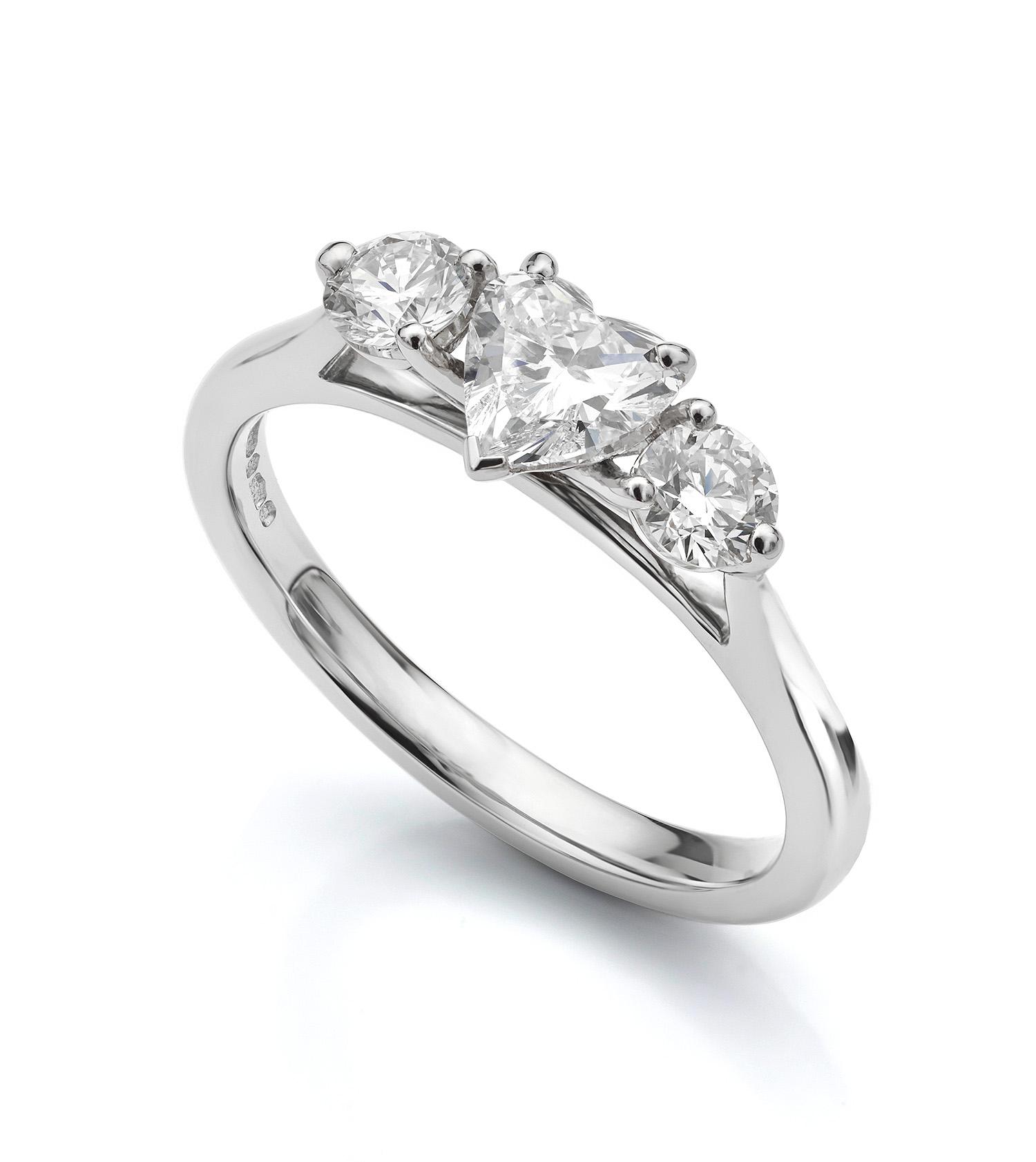 Heart shaped diamond trilogy ring
