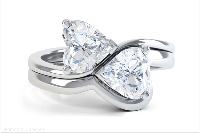 Two hearts diamond engagement ring Josephine