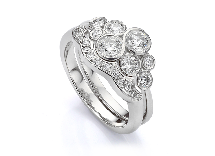 Custom shaped wedding ring for bubble ring