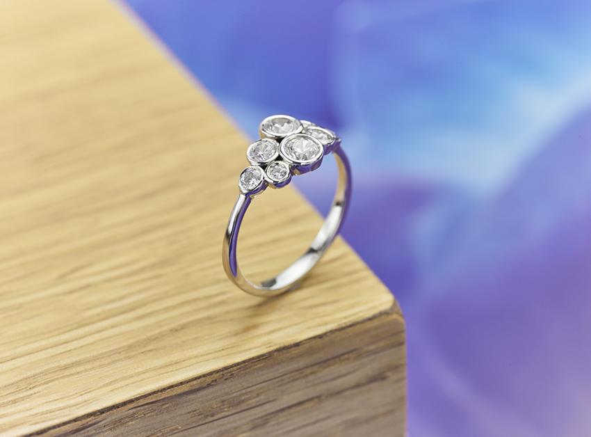 Petite diamond bubble ring