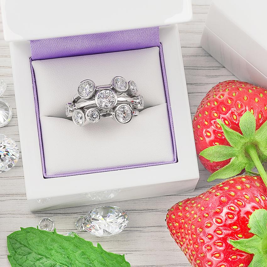 Wimbledon inspired diamond bubble ring
