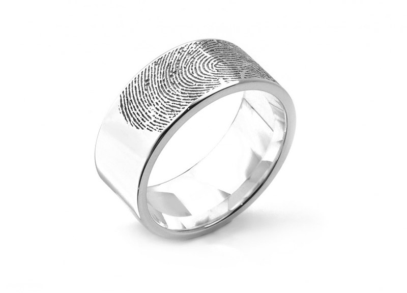 Extra wide fingerprint engraved wedding ring