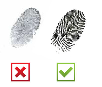 Example fingerprints showing the best type of print to send to us