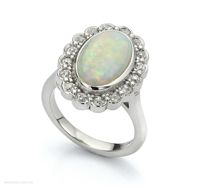 Opal and old cut diamond remodelled cluster ring