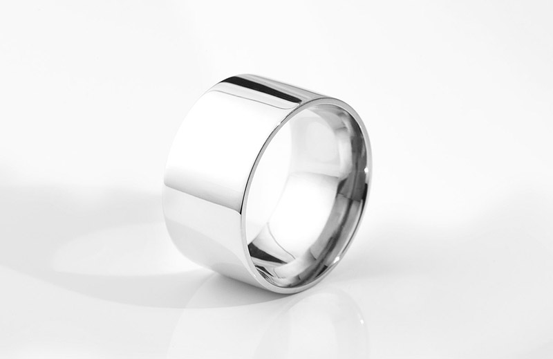 Wide flat court mens wedding ring 13mm wide