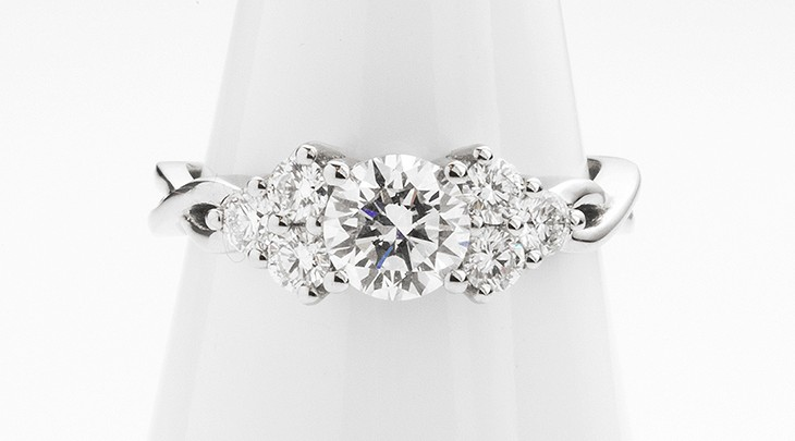 plaited shoulder diamond engagement ring