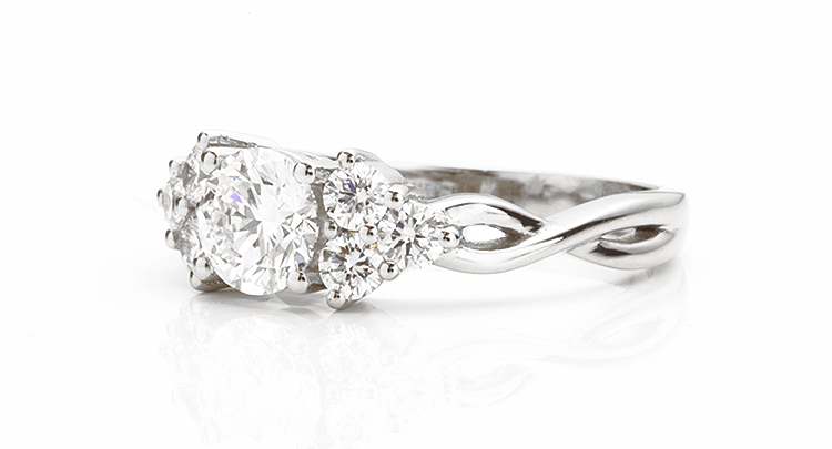 side view of plaited shoulder diamond engagement ring