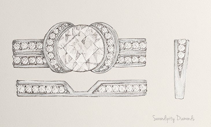 Shaped diamond wedding ring to match the Tiffany Ribbon Ring