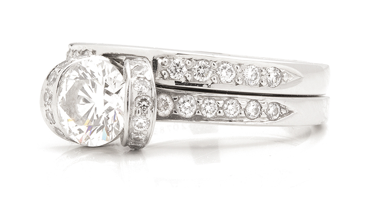 side view of the shaped wedding ring matching the tiffany ribbon ring - Tiffany Wedding Ring