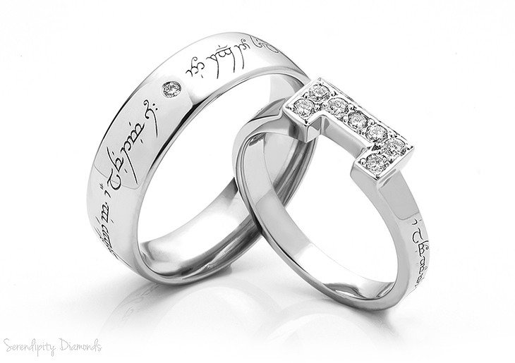 Tengwar engraved wedding rings with inset diamonds and shaped wedding ring detail