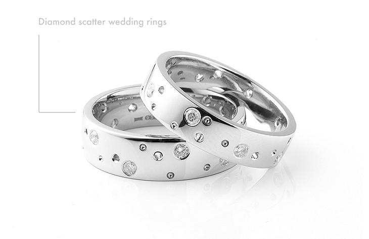 Diamond scatter wedding rings
