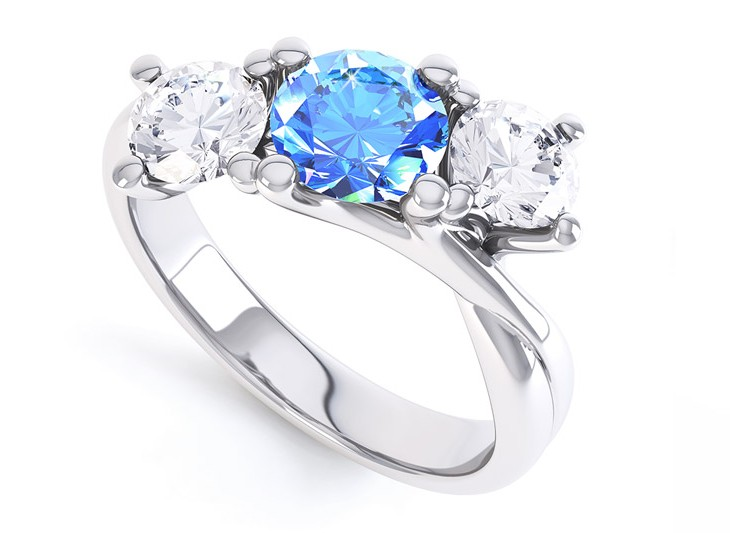 Engagement Rings with a Blue Stone Sapphire Topaz Aquamarine
