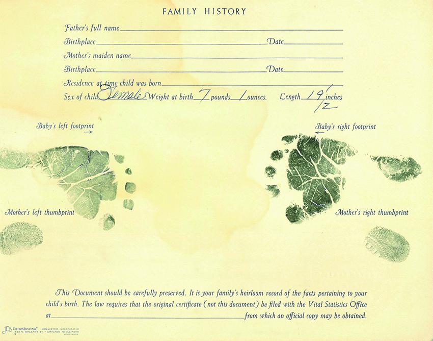 Memorial fingerprint on birth certificate