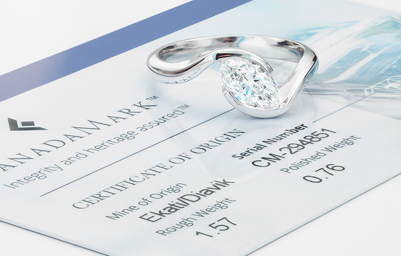 Ursa engagement ring shown on Canadamark card