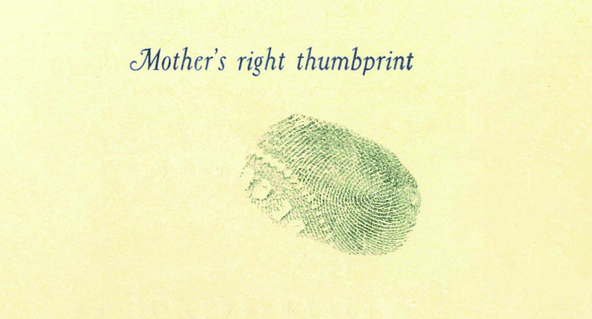 Close up of the fingerprint to be engraved