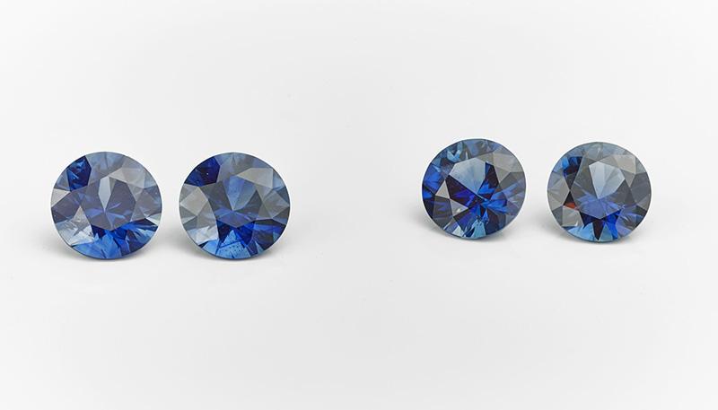 Pairs of diamond cut blue sapphires
