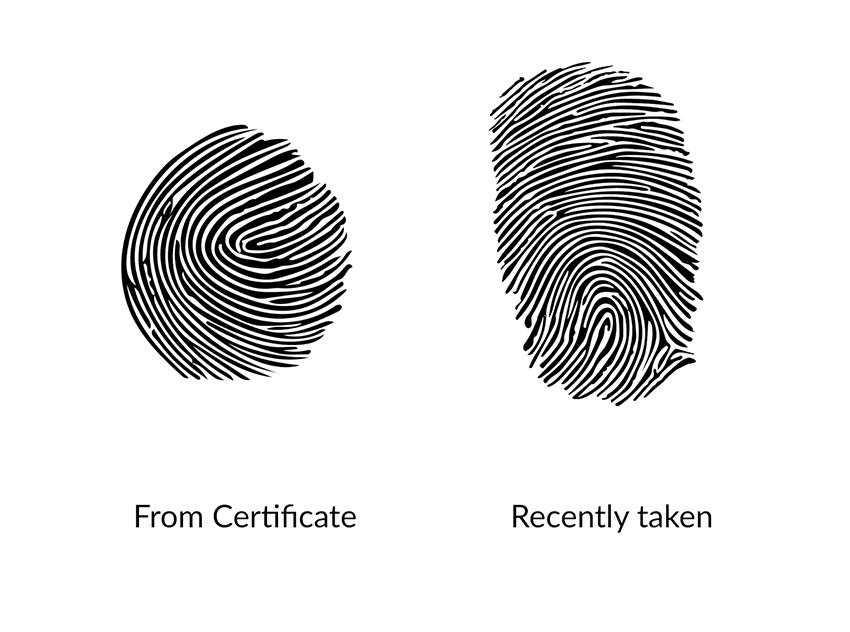 Final fingerprints for the memorial fingerprint engraving