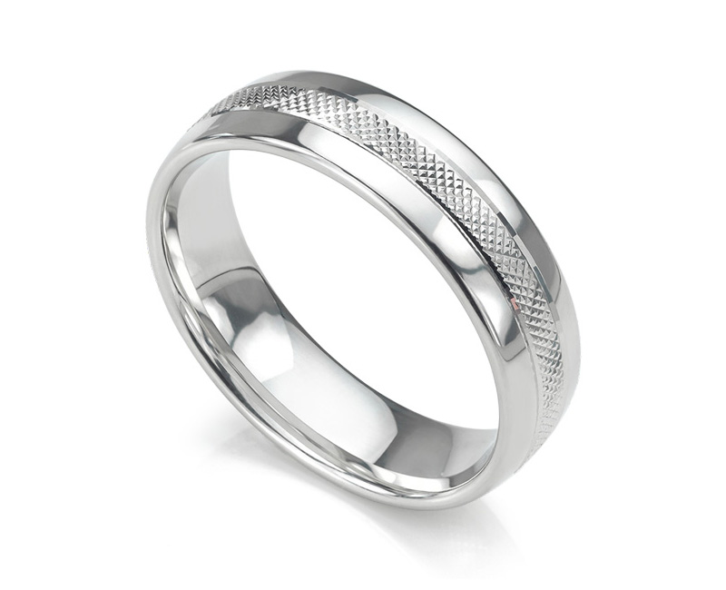 Hatch patterned wedding ring