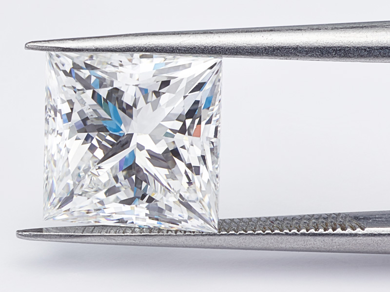2 carat princess cut diamond photographed