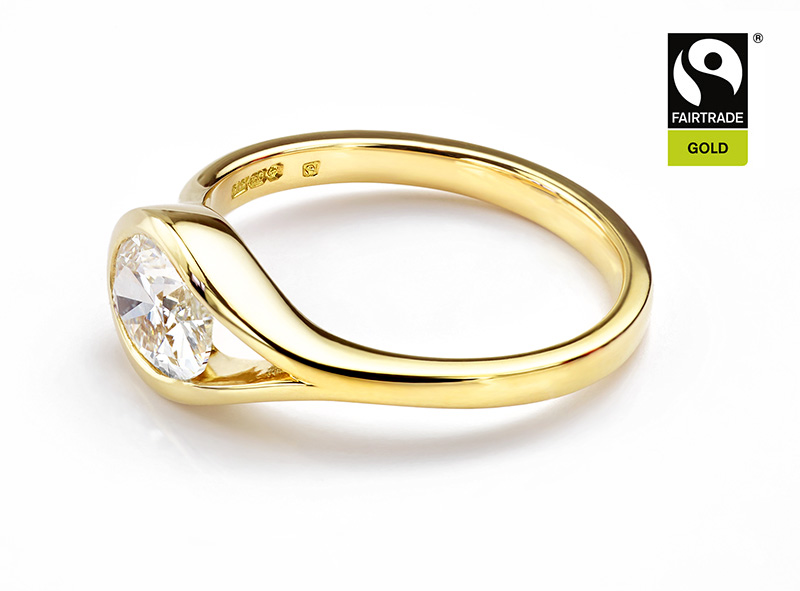 Side view of fairtrade gold diamond ring