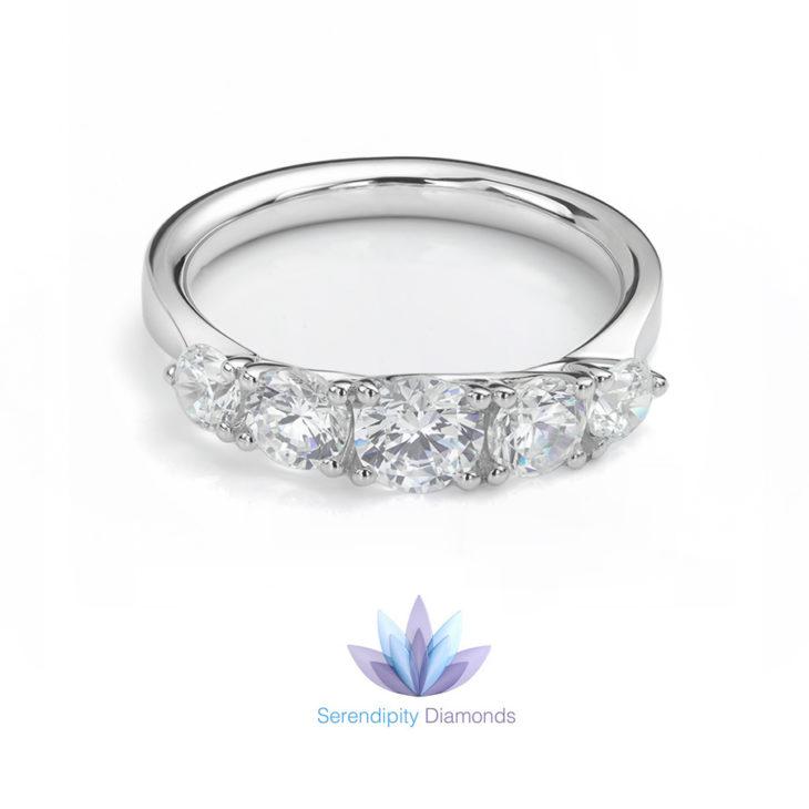 5 stone graduated diamond engagement ring