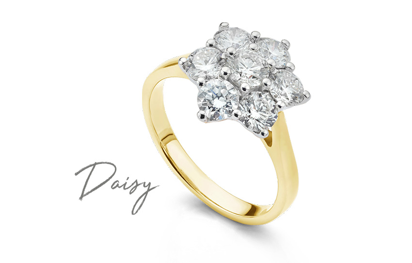 SI1 clarity diamonds in the Daisy diamond cluster ring