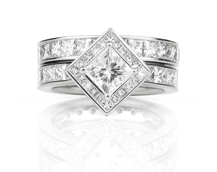 Engagement ring with fully diamond set band