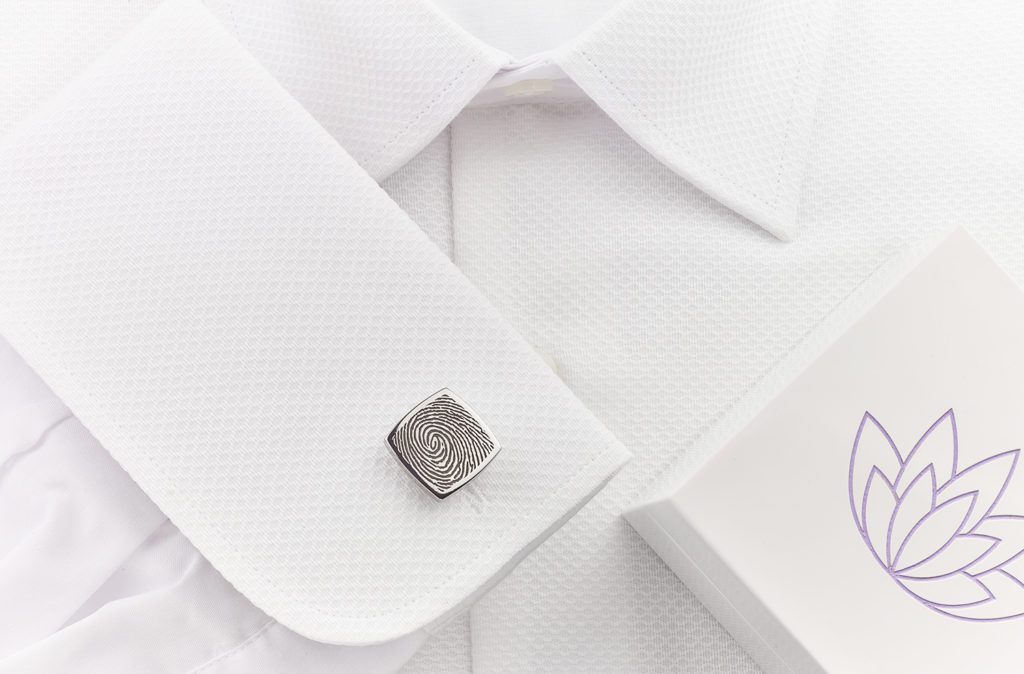 Square fingerprint cufflinks and double cuff shirt