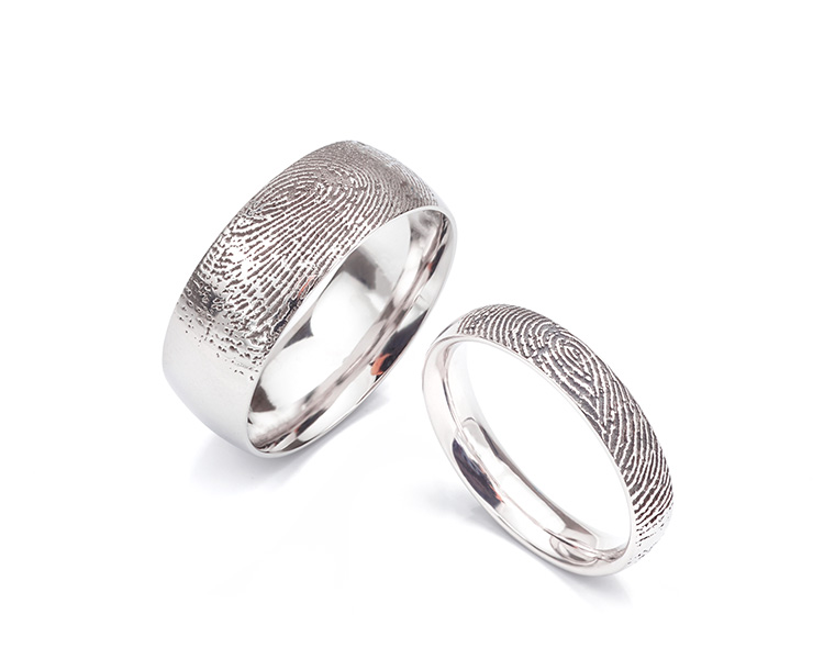 HIs and his wider style fingerprint wedding rings