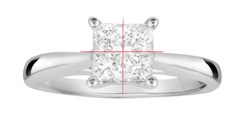 Invisible set diamond engagement ring with Princess cut diamonds forming a solitaire illusion