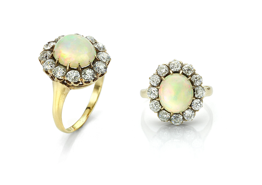 The original Antique opal and diamond ring