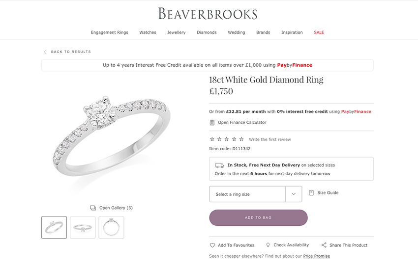 Beaverbrooks average engagement ring price