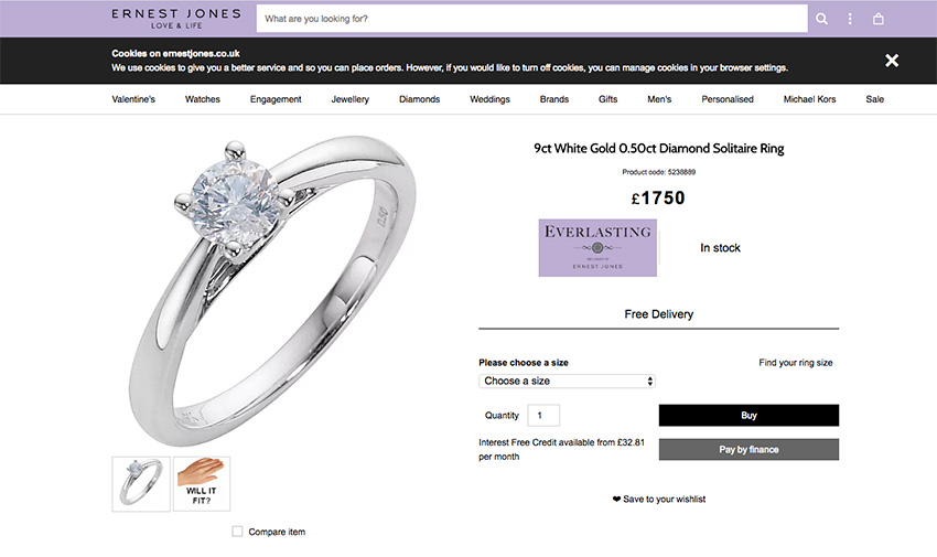 What does the average price of an engagement ring get you at Ernest Jones jewellers