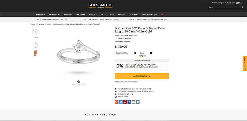 Goldsmiths engagement ring example