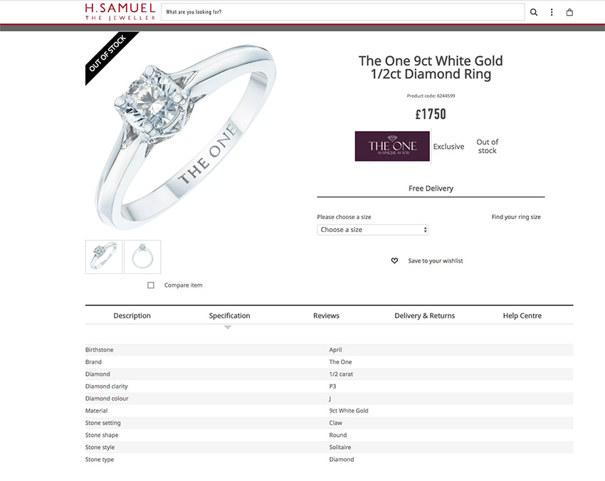 H Samuel average engagement ring price
