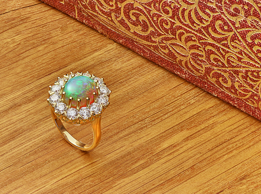 Remaking a ring. An example of a re-produced Antique Opal and diamond cluster ring